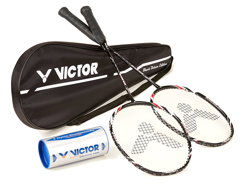 Victor Badminton Set, 2X VICTEC 500 Black Edition/Racketbag / 3X Nylonball