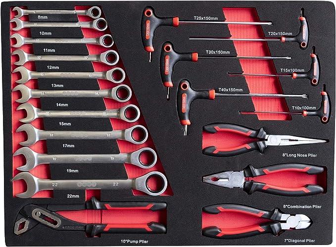 DeTec - Caja de herramientas con 3 cajones, llena con herramientas de mano: Amazon.es: Bricolaje y herramientas