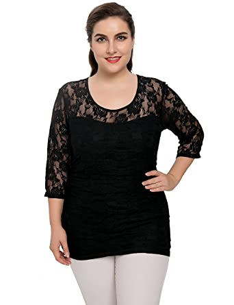 2a3b08e8 Chicwe Women's Plus Size Stretch Smitten Casual Lace Top at Amazon ...