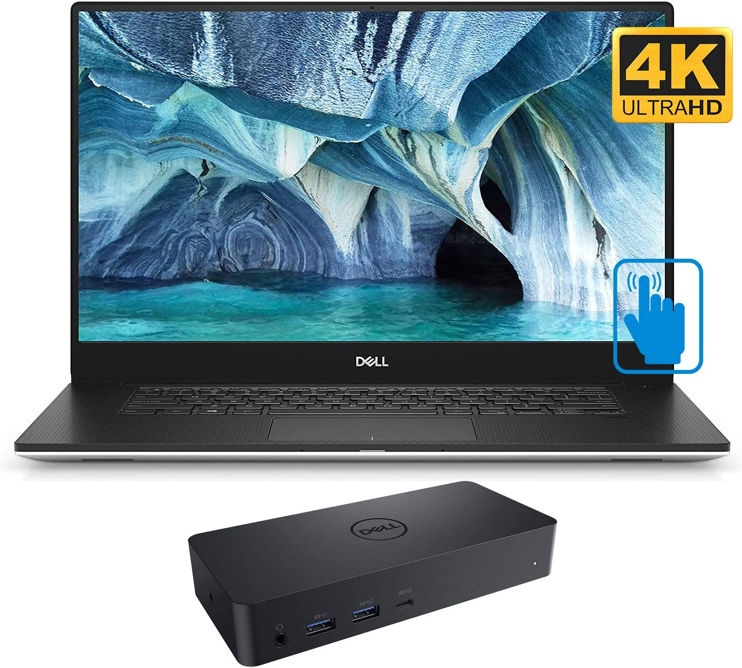 """Dell XPS 9570 Home and Business Laptop (Intel i7-8750H 6-Core, 64GB RAM, 1TB m.2 SATA SSD, NVIDIA GTX 1050 Ti, 15.6"""" Touch 4K UHD (3840x2160), WiFi, Bluetooth, Webcam, Win 10 Pro) with D6000 Dock"""