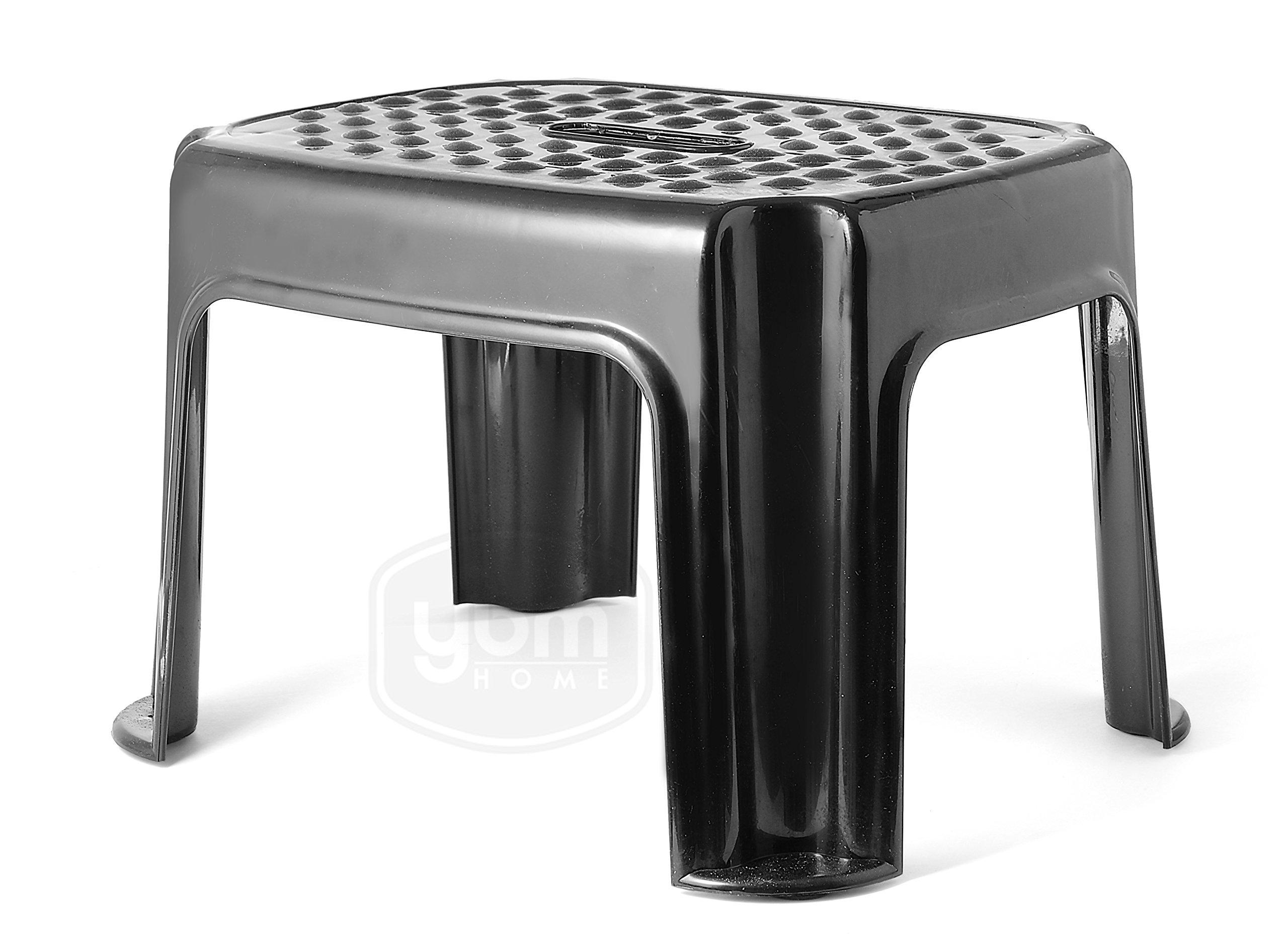 YBM Home Plastic Step Stool Great For Kitchen, Laundry Bath Office Garage 0305-bl black)