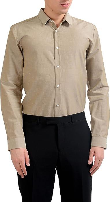 "3ba9e4ad3 Hugo Boss Ero3"" Men's Extra Slim Fit Linen Long Sleeve Casual Shirt ..."