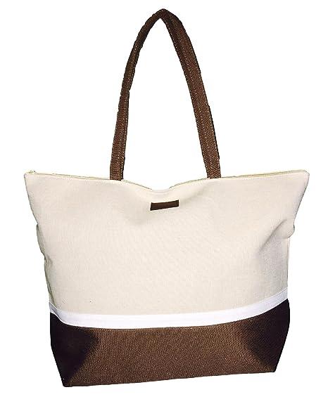 Amazon.com | Color Block Zippered Top Tote Beach Bag 21