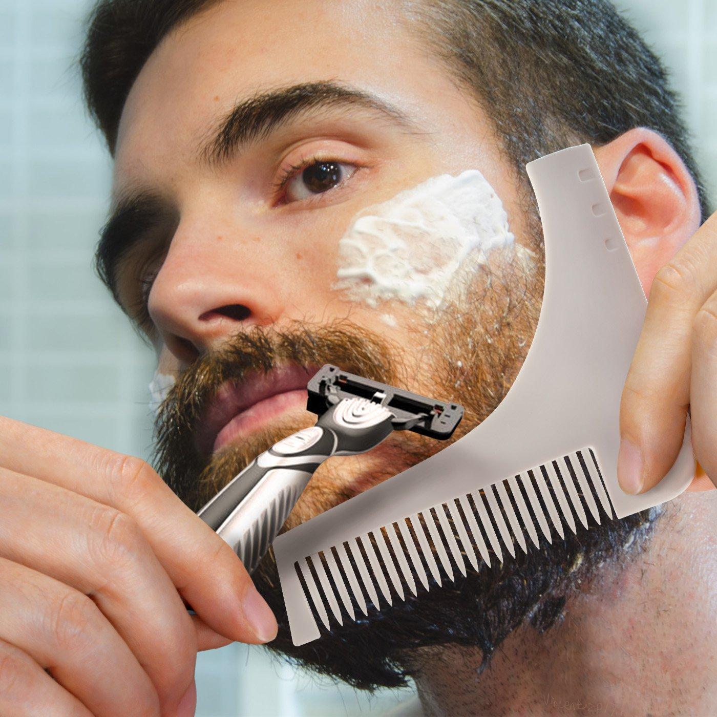Peigne pochoir à barbe homme,Magichome Beard Shaping Tool modèle de barbe Accessoire de guide de rasage pour contour barbe