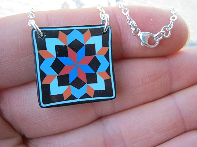 Quilters Jewelry 18 Carpenters Star Quilt Block Necklace .925 Sterling Silver Limited Edition Polymer Clay