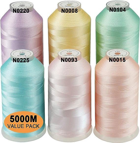 New brothread Conjunto de 6 Colores Pastel-2 Poliéster Bordado ...