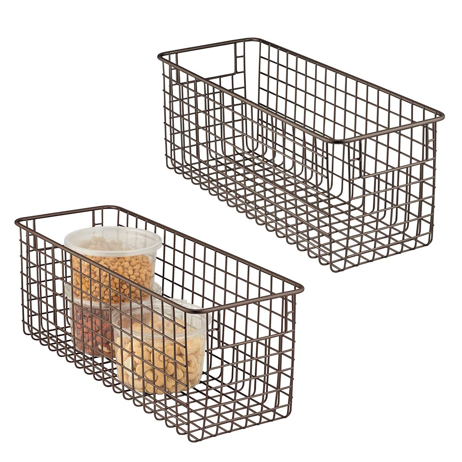 "mDesign Farmhouse Decor Metal Wire Food Storage Organizer Bin Basket with Handles for Kitchen Cabinets, Pantry, Bathroom, Laundry Room, Closets, Garage - 16"" x 6"" x 6"" - 2 Pack - Bronze"