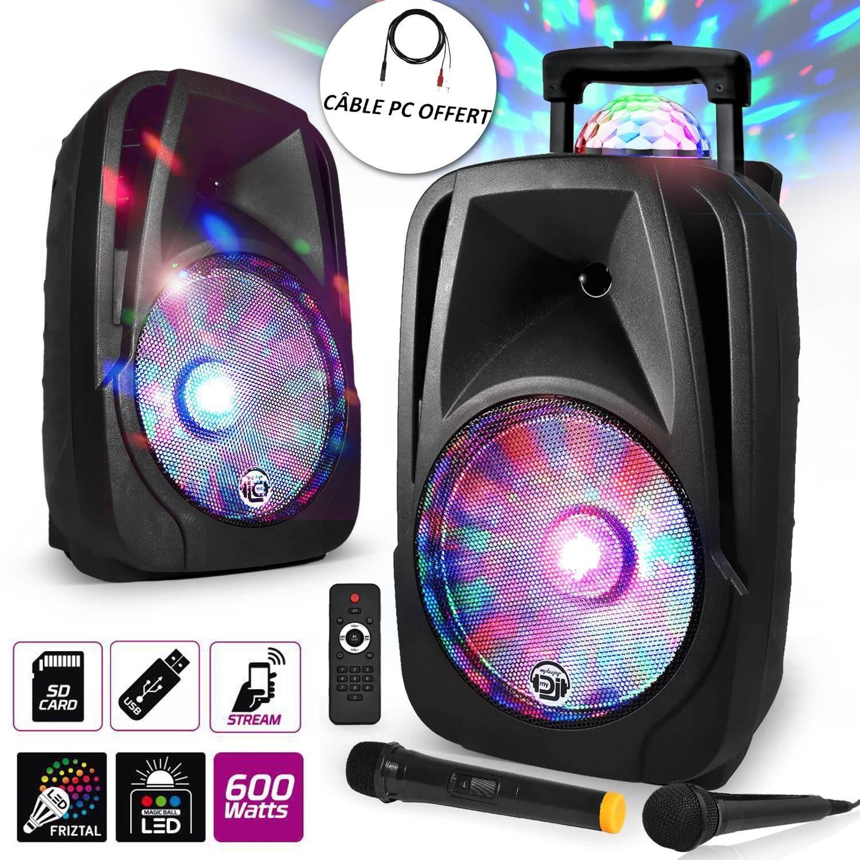 "Enceinte mobile Sono DJ PA Karaoké 600W 12"" LED USB/BT/SD/PC + 2 Micros + Effet MagicBall Friztal rotatif product image"