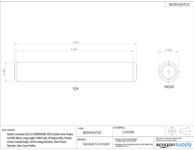TiAlN Monolayer Finish 1.5mm Corner Radius 50 Deg Helix 83mm Overall Length Sandvik Coromant R216.24 Carbide Corner Radius End Mill 12mm Shank Diameter 12mm Cutting Diameter Metric 4 Flutes