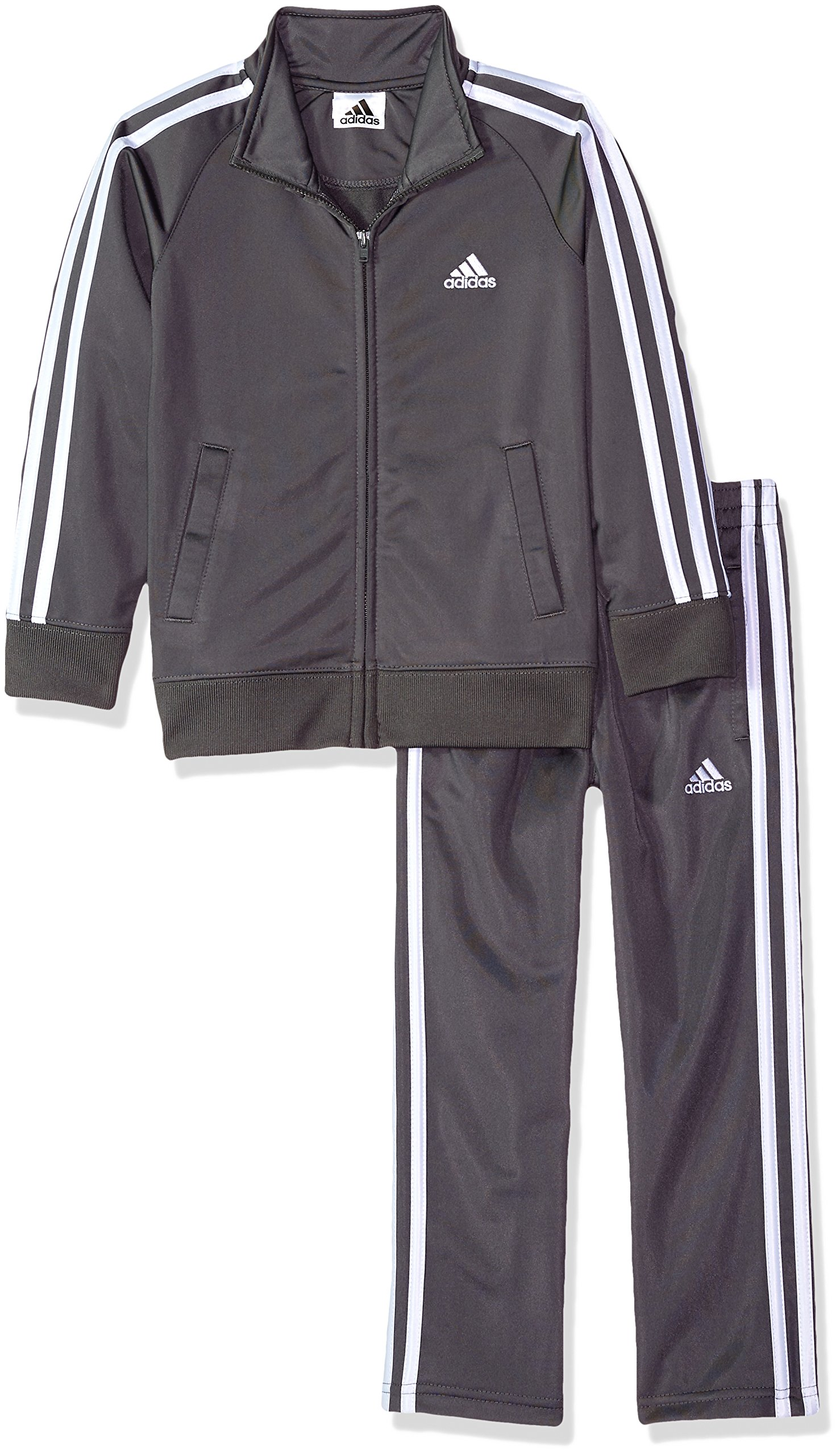 adidas Boys' Little Tricot Jacket and Pant Set, Grey Five Adi, 7