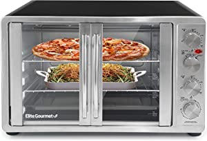 Elite Gourmet ETO-4510M Double French Door Countertop Convection Toaster Oven, Bake Broil Toast Rotisserie Keep Warm 12