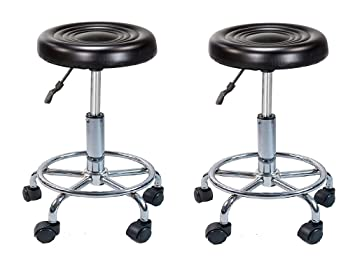 IYB Furniture - Adjustable Stool with wheels -Doctor/Kitchen Stool/Office Stool/Chair/Cafeteria Stool/Bar Stool Finish Color -Black (Set of 2 Pcs)