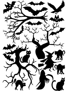 halloween window cling set of cats bats and trees 8x115 sheet black - Halloween Window Clings