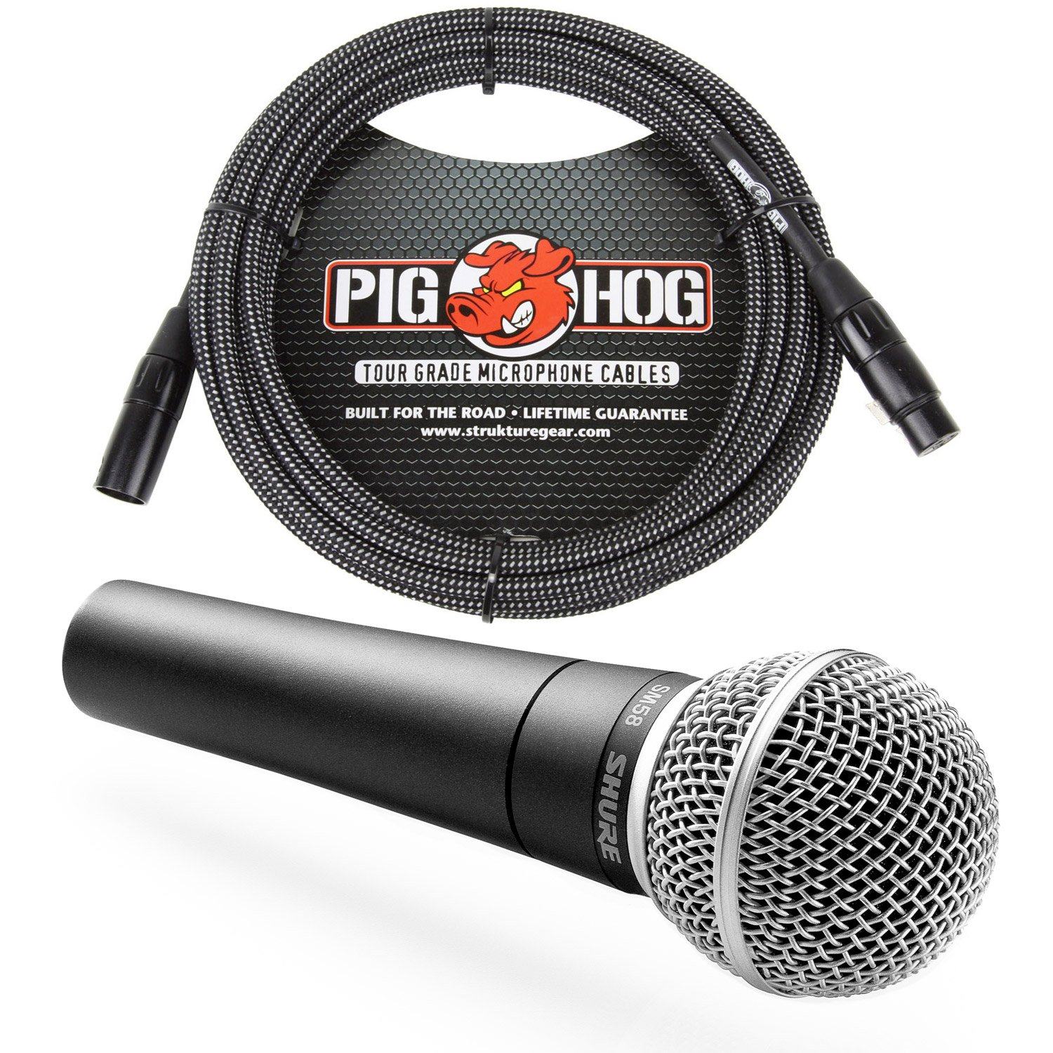 Shure SM58 Cardioid Vocal Microphone & Pig Hog Black & White Woven Mic Cable, 20ft XLR - Bundle