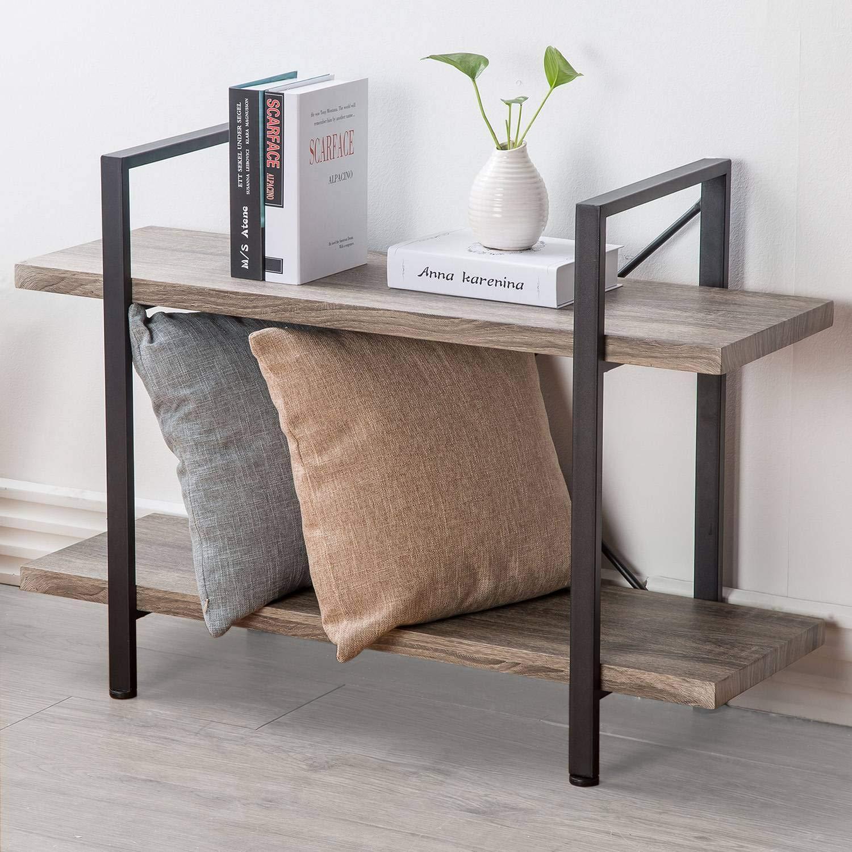 HSH Furniture 2-Shelf Bookcase, Industrial Wood Display and Storage Bookshelf, Dark Oak