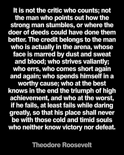 image about Man in the Arena Free Printable named Motivational Quotation Poster Print\