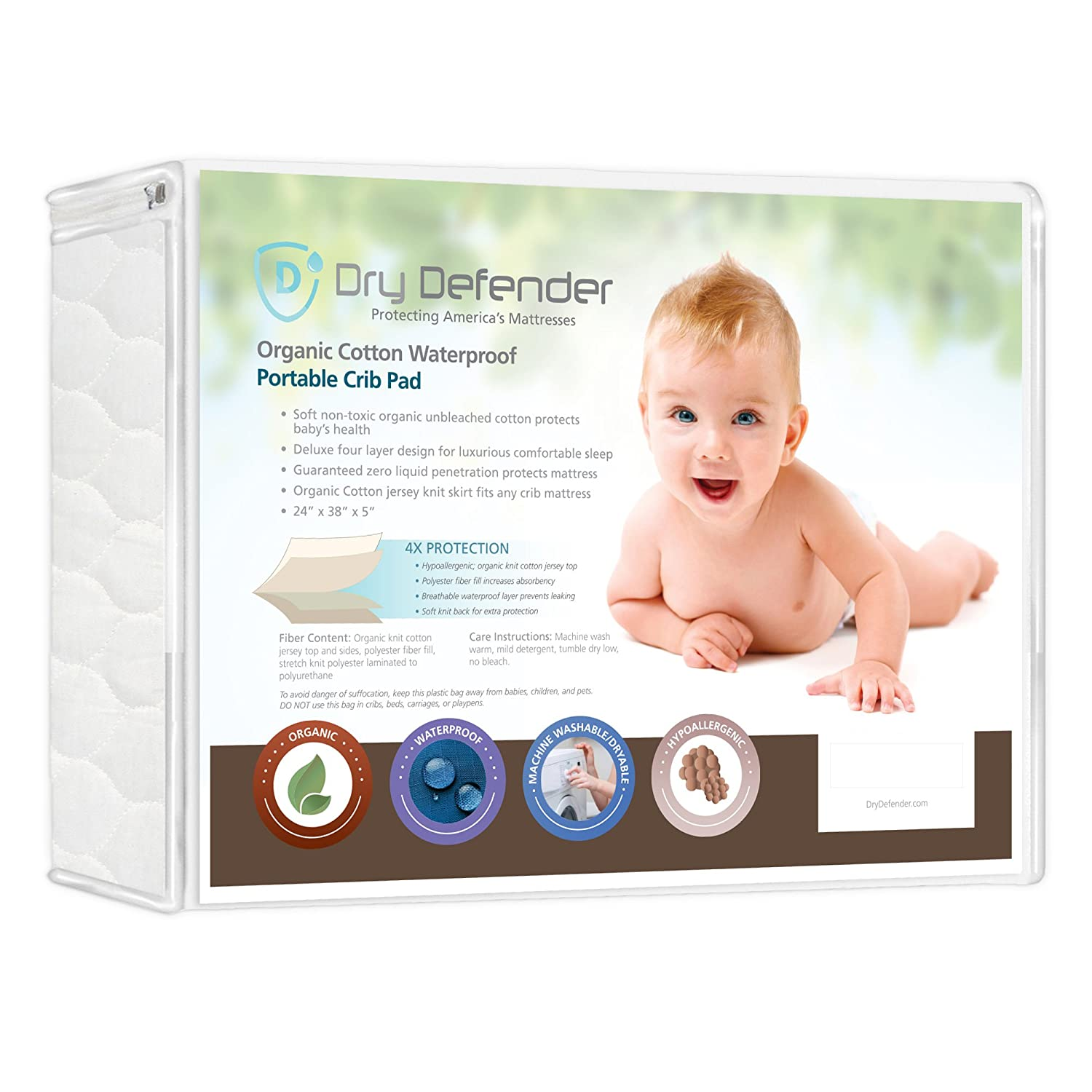 Organic Cotton Waterproof Fitted Crib Pad - Natural Baby Crib Mattress Cover & Protector - Unbleached, Non-Toxic & Hypoallergenic (28