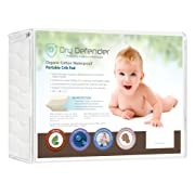 Organic Cotton Waterproof Portable Crib Pad - Natural Quilted Mini Baby Crib Mattress Cover & Protector - Fitted, Unbleached, Non-Toxic & Hypoallergenic