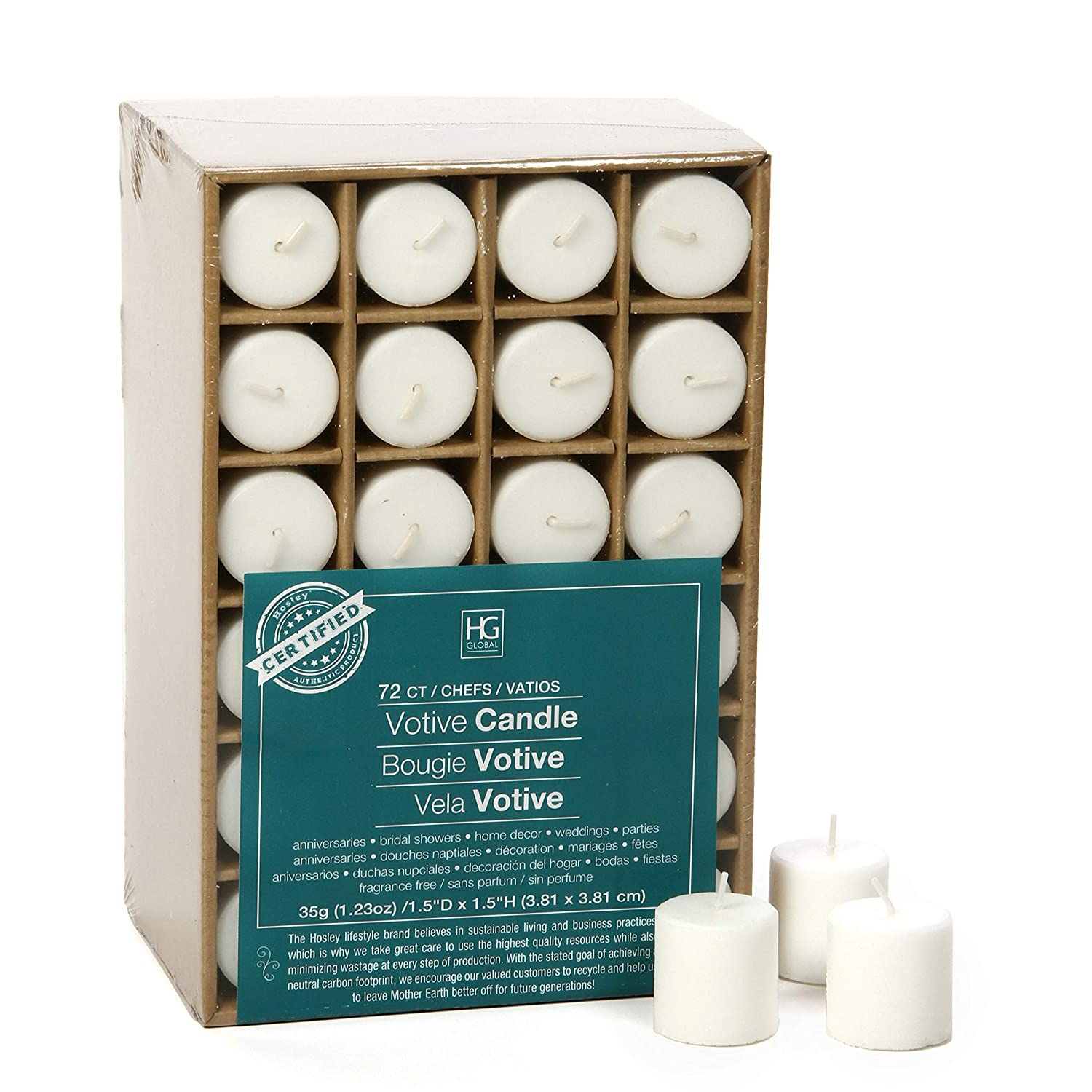 Hosley Set of 72 Unscented White Votive Candles up to 10-Hours. Bulk Buy. Wax Blend. Ideal Weddings, Birthday, Aromatherapy, Party, Candle Gardens O2 HG Global FBA-G08896ON-1-EA