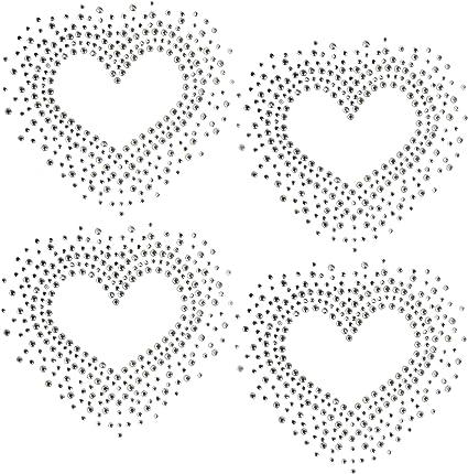RHINESTONE IRON ON APPLIQUE LOVE TRANSFER  HOT FIX * HEART VALENTINE