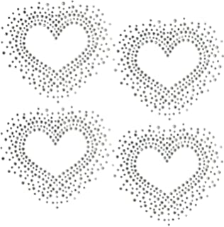 Set of 4 Heart Love Valentines Day Hotfix Clear Rhinestone Iron On Design Transfer Bling -