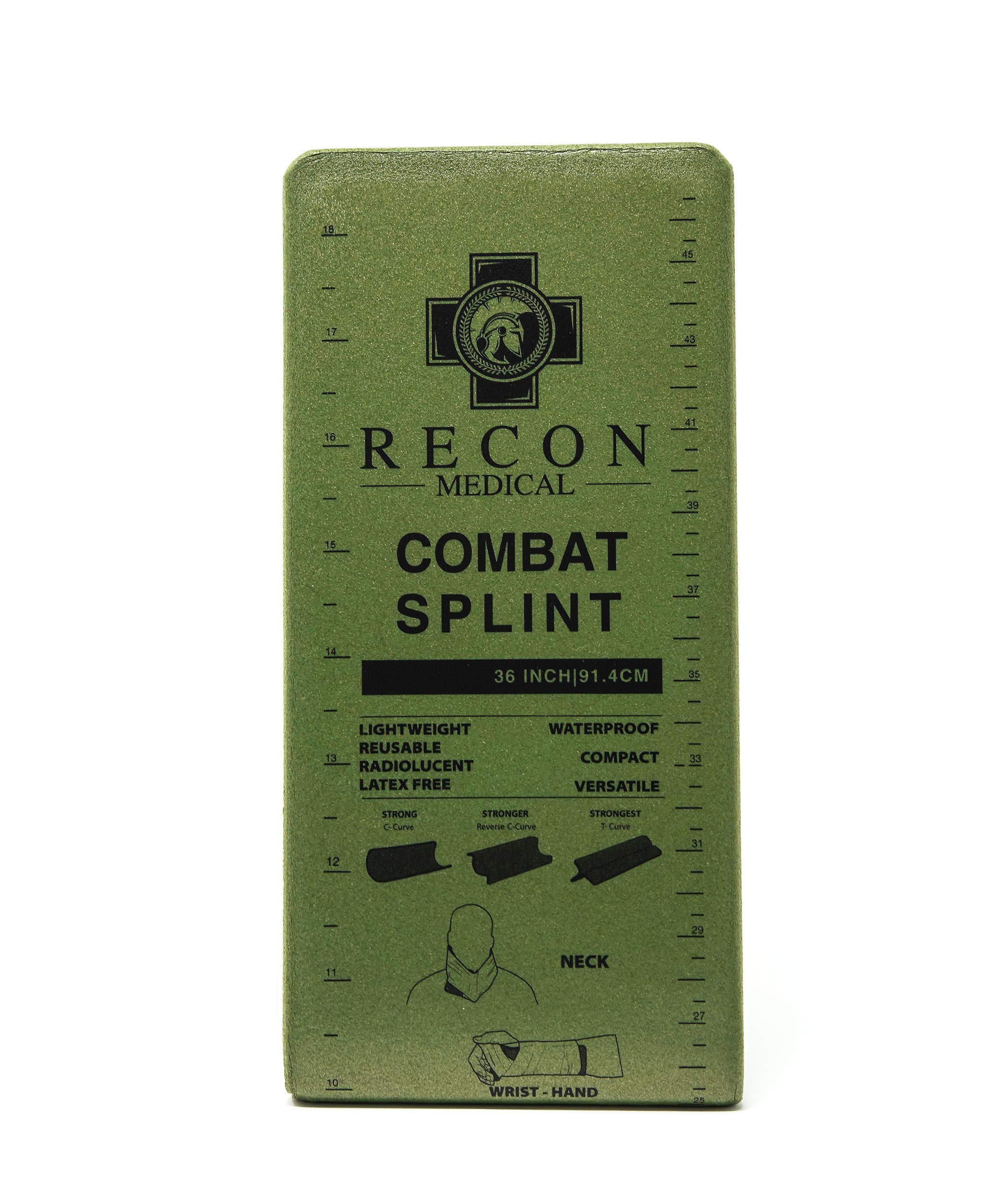 Combat Splint- (Olive Green) Recon Medical Combat Splint 36 inches Lightweight Reusable Waterproof First Aid Medical Tactical Registration Card! (1 Pack) (Flat Packaging 4.25inchsX9inches)