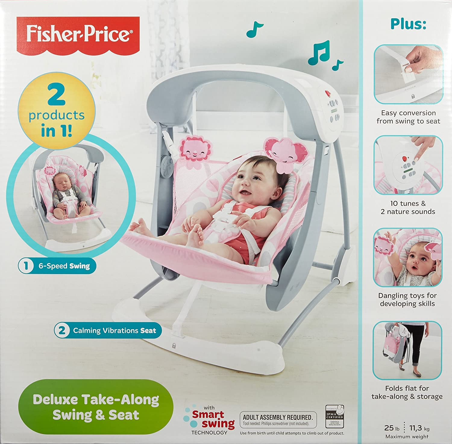 Fisher-Price Deluxe Take Along Swing and Seat, Pink/White CMR60