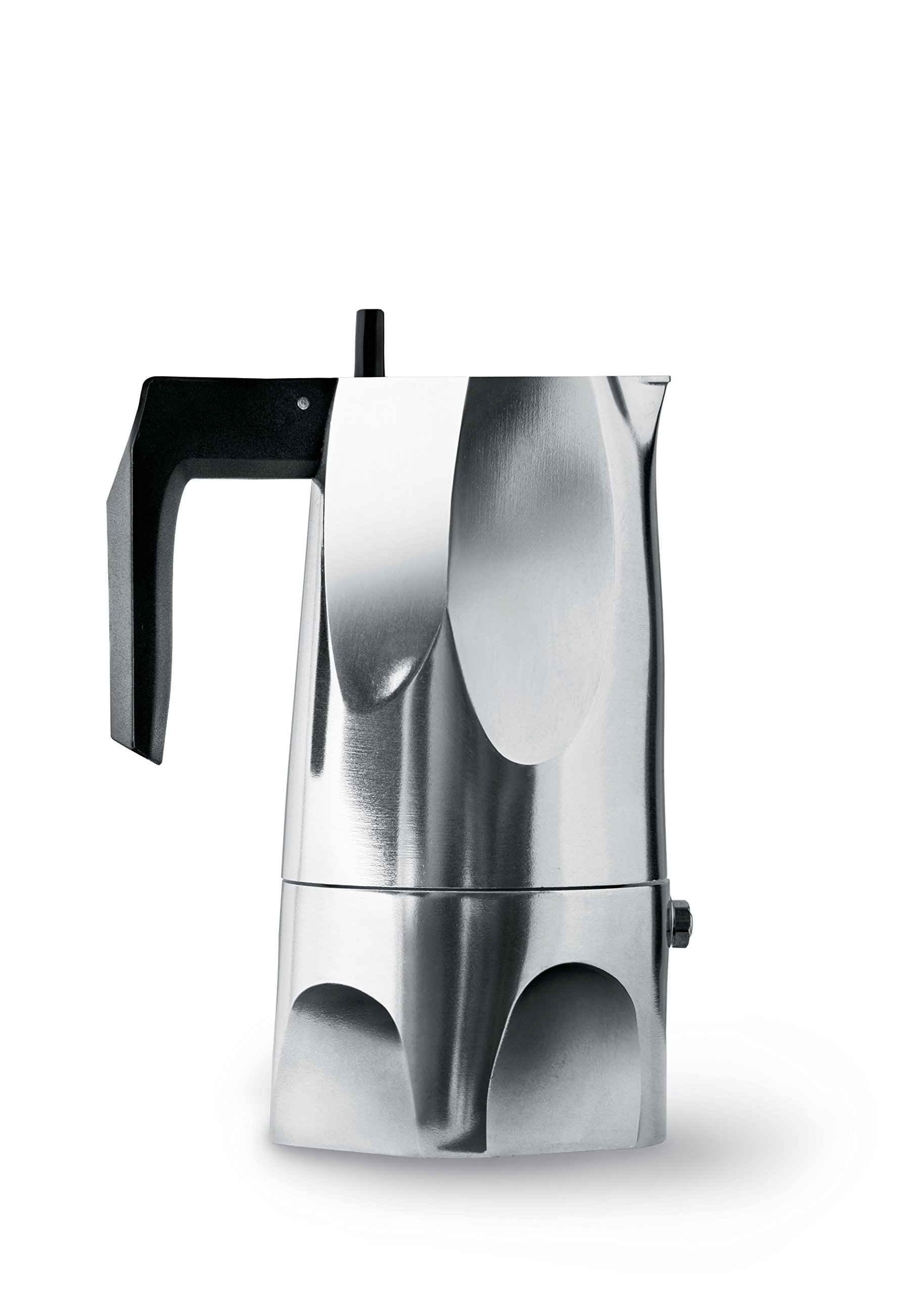Alessi MT18/3''Ossidiana'' Stove Top Espresso 3 Cup Coffee Maker in Aluminium Casting Handle And Knob in Thermoplastic Resin, Black
