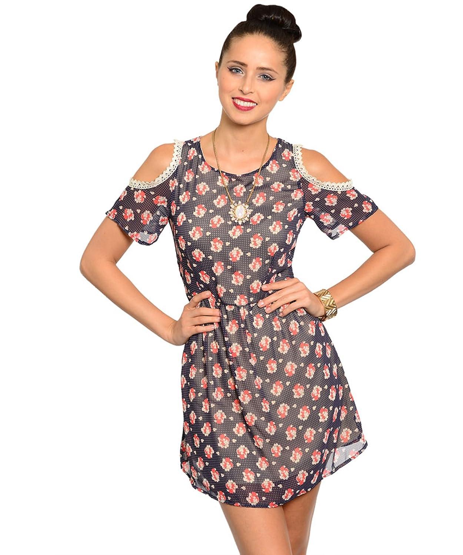 Sommerkleid / Freizeitkleid / Frühlingskleid / Minikleid mit Blumenstraußmotiven - blau/off-white/rot