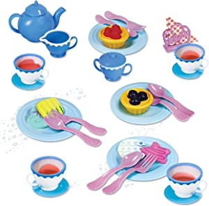 Kidzlane Play Tea Set for Little Girls | Kids Tea Party Set with Water Activated Color Changing Tea Cups & Cookies | 34 Piece Set