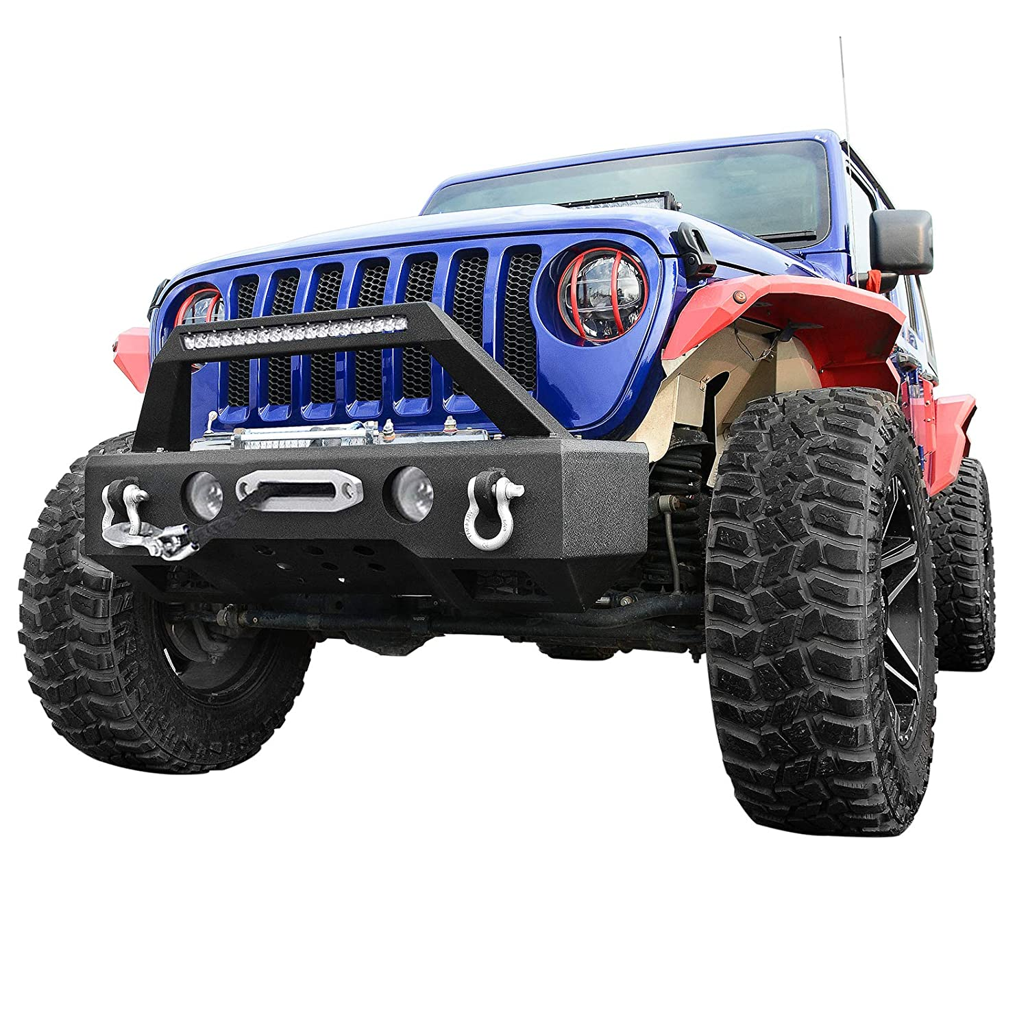 2 x D-rings and Winch Plate Textured Black for 2018-2019 Wrangler JL with OE Fog Light Hole LEDKINGDOMUS Rock Crawler Stubby Front Bumper for 2007-2018 Jeep JK