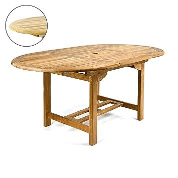 DIVERO GL05520 Ovaler Ausziehbarer Gartentisch Esstisch Balkontisch Holz  Teak Tisch Für Terrasse Balkon Wintergarten Witterungsbeständig Behandelt
