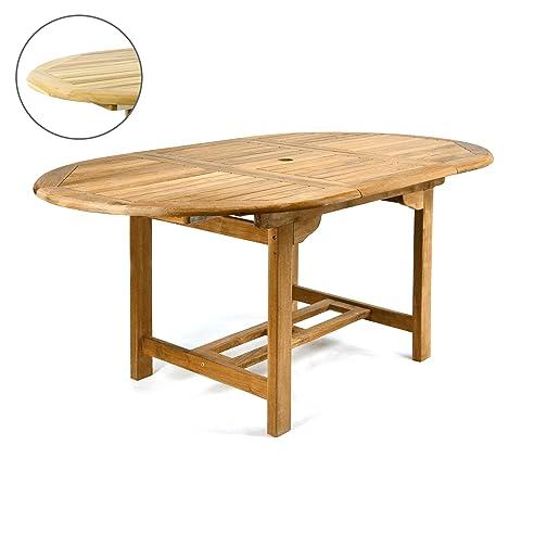 Gartentisch holz massiv  Amazon.de: DIVERO GL05520 Ovaler ausziehbarer Gartentisch Esstisch ...