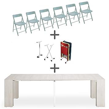 ARREDinITALY Set 6 sillas Plegables + Carro + Consola ...