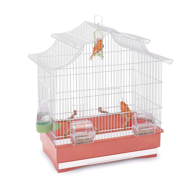 Imac 5-06262 Jaula Pájaros Pagoda, 50 x 30 x 53 cm, Blanco y Rosa ...