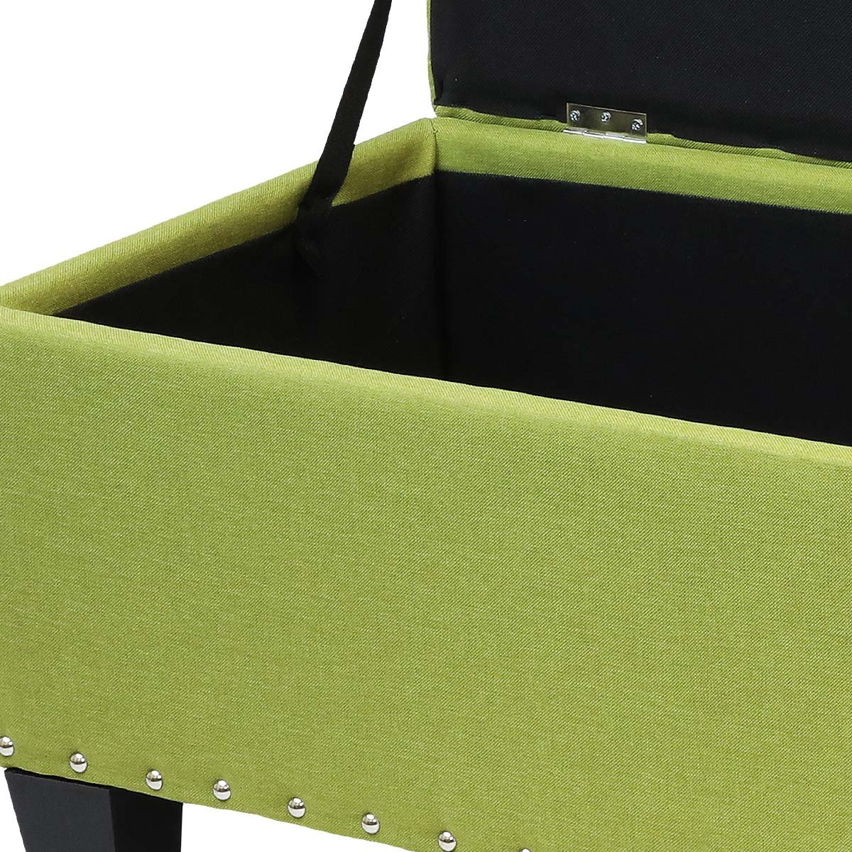 Magshion Rectangular Storage Ottoman Bench Tufted Footrest Lift Top Pouffe Ottoman, Coffee Table, Seat, Foot Rest, and more (42'', Linen Olive) by Magshion (Image #3)