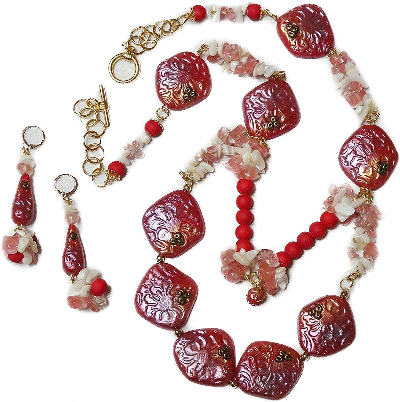 Collar rosa de regalo con cuentas de color rosa y blanco para regalo de San Valentín para niñas, collar y pendientes de perlas rojas para regalo de cumpleaños de mujer, amatista hecha a mano