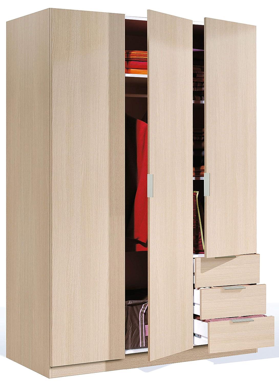 Habitdesign LCX323R - Armario ropero de Tres Puertas y Tres cajones, Color Roble, Medidas 180x121x52 cm de Fondo
