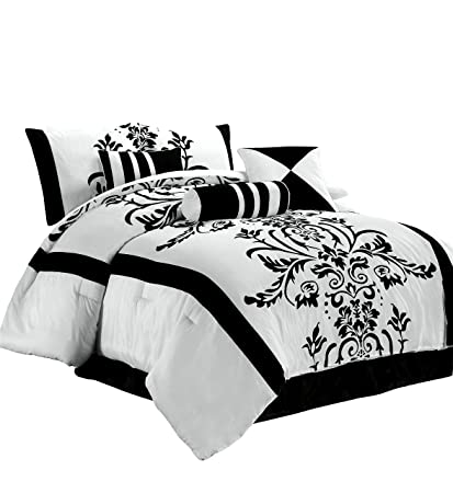 Amazoncom Chezmoi Collection 7 Piece White With Black Floral