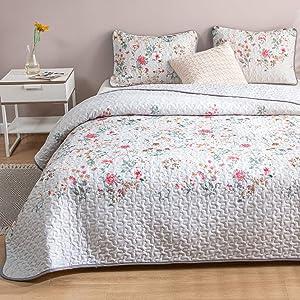 Botanical Floral Quilt Set Grey Bedspread Pink Red Pastoral Style Flowers Printed Design Botanical Flowers Bedspread Coverlet King 1 Quilt 2 Pillowcases (King, Grey)