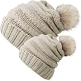 Chalier 2 Pack Parent-Child Hat Winter Baggy Slouchy Beanie Hat Warm Knit Pom Pom Beanie for Women & Baby