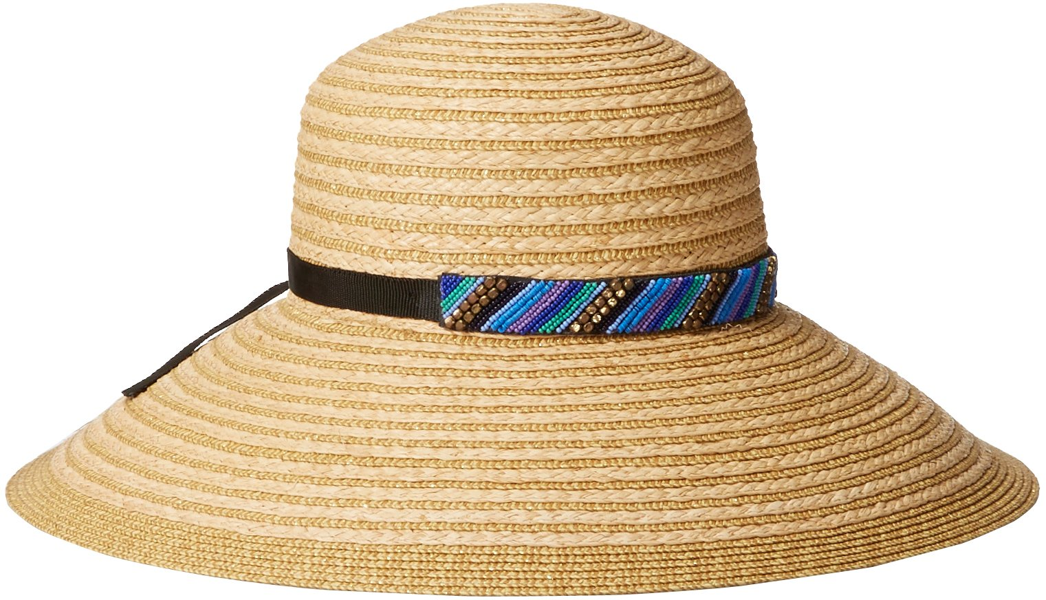 Gottex Women's Women's Marrakesh Raffia Packable Sun Hat, Rated UPF 50+ For Maximum Sun Protection, Blue/Multi, One Size by Gottex