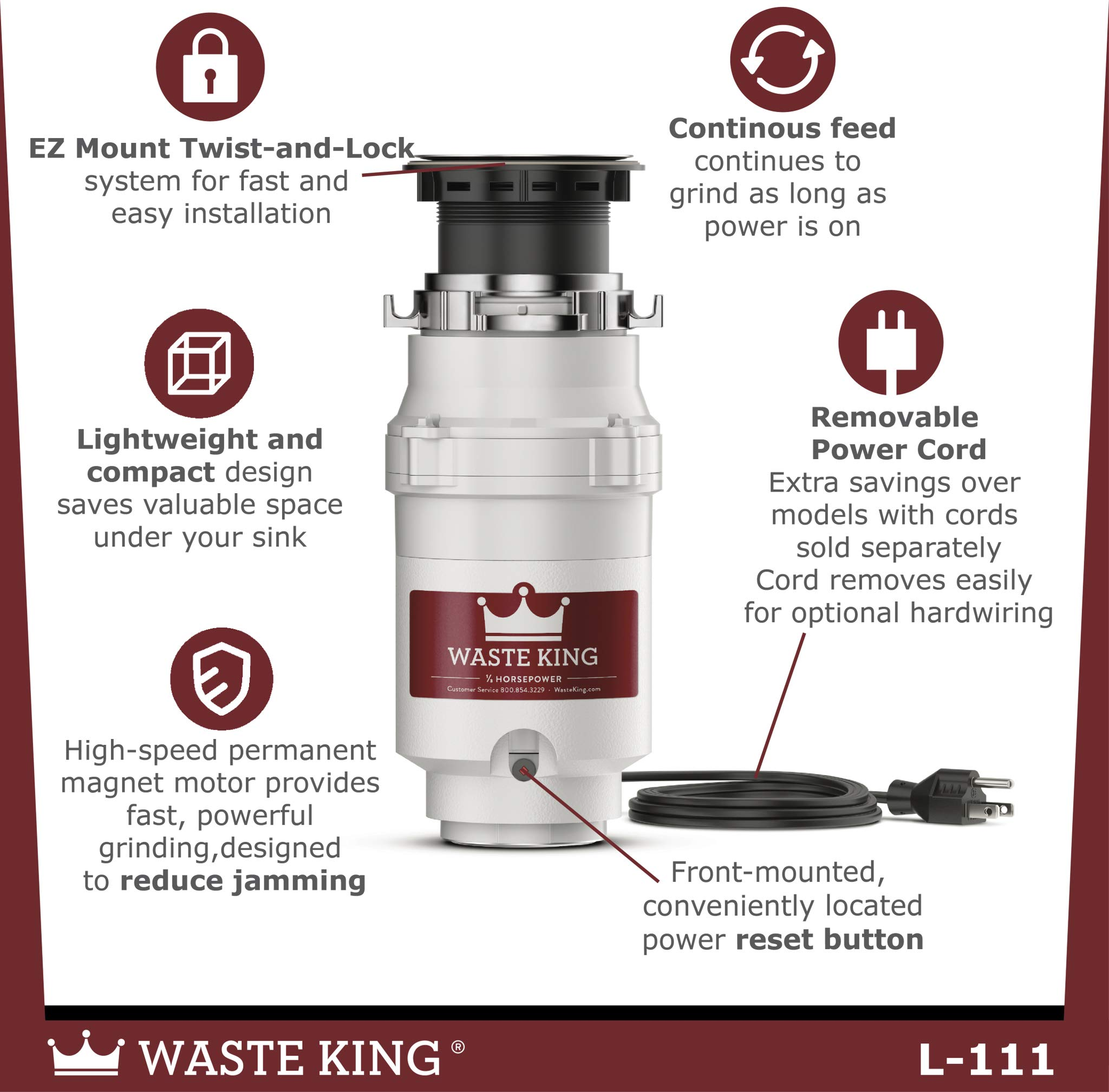 Waste King L-111 Garbage Disposal with Power Cord, 1/3 HP by Waste King