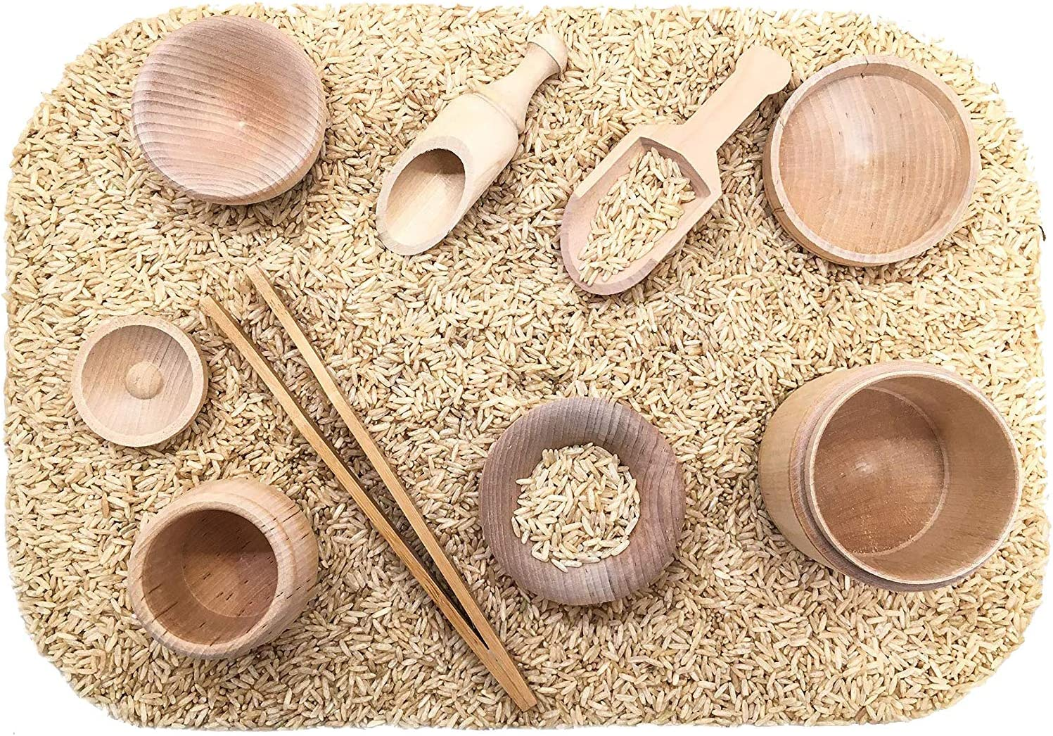 SimplytoPlay Sensory Bin Tools, Montessori Toys for Toddlers, Waldorf Toys, Wooden Scoops and Tongs for Transfer Work and Fine Motor Learning