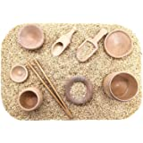 SimplytoPlay Sensory Bin Tools, Montessori Toys for Toddlers, Waldorf Toys, Wooden Scoops and Tongs for Transfer Work…