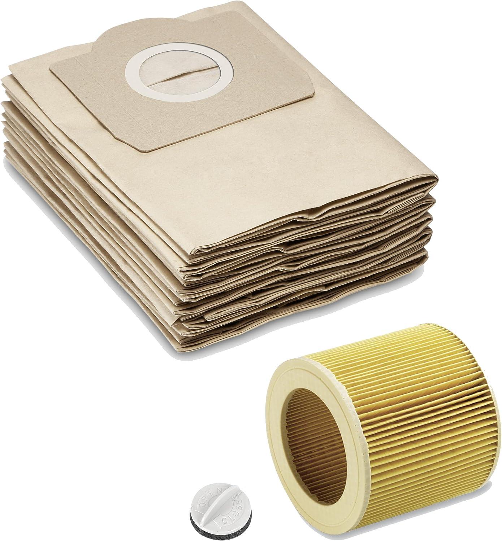 10 bolsas filtrantes de papel 1x filtro de cartucho 10 bolsas filtrantes de papel como 6.959-130.0 filtro de cartucho como 6.414-552.0 cierre 4.075-012.0 adecuado para K/ÄRCHER WD2 WD3 MV2 MV3