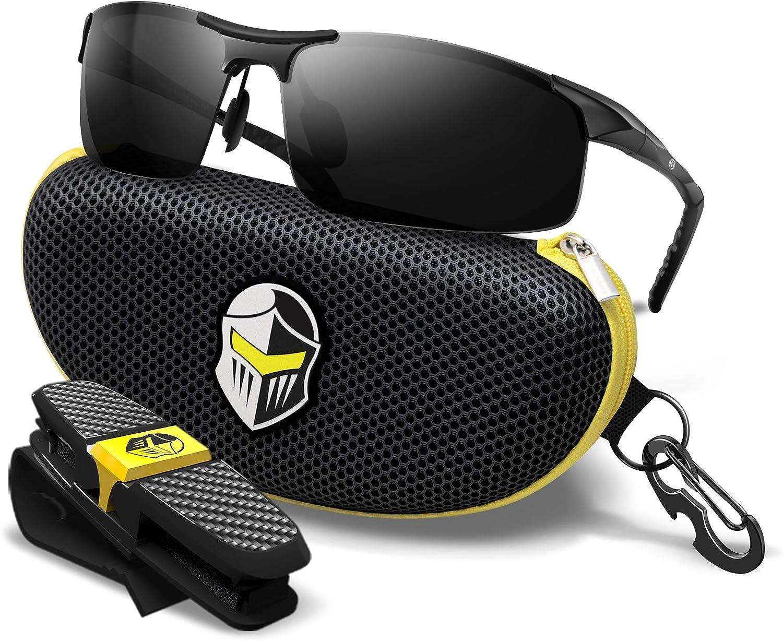 Sports Polarized Black Sunglasses for Men - UV400 TAC Lens - Durable Metal Frame for Driving fishing Cycling - Knight Visor Blackout (Black Case)