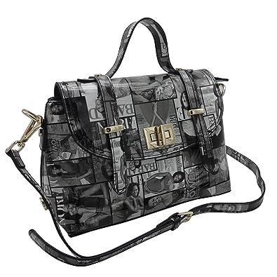 Michelle Obama Magazine Style Double Strap Crossbody Bag (Black ... 8d4be54b3f04a