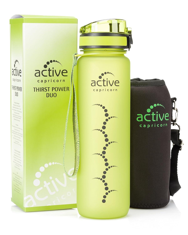 Trinkflasche Sportflasche aus Tritan 1l auslaufsicher BPA frei grün ...