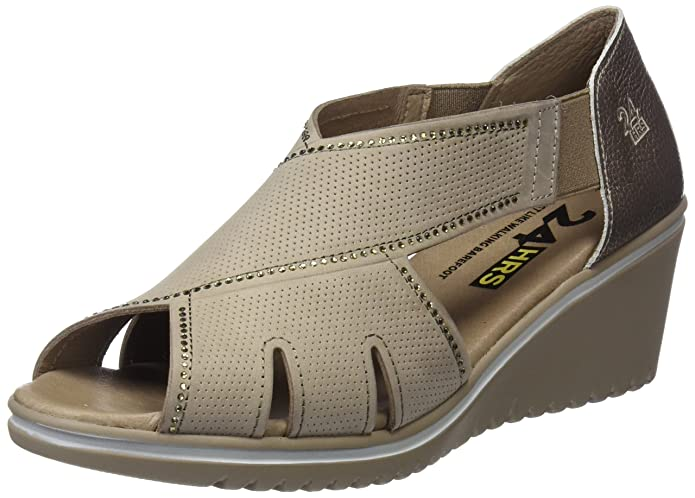 24 HORAS 23559, Sandales Bout Ouvert Femme, Beige (Taupe 10), 39 EU
